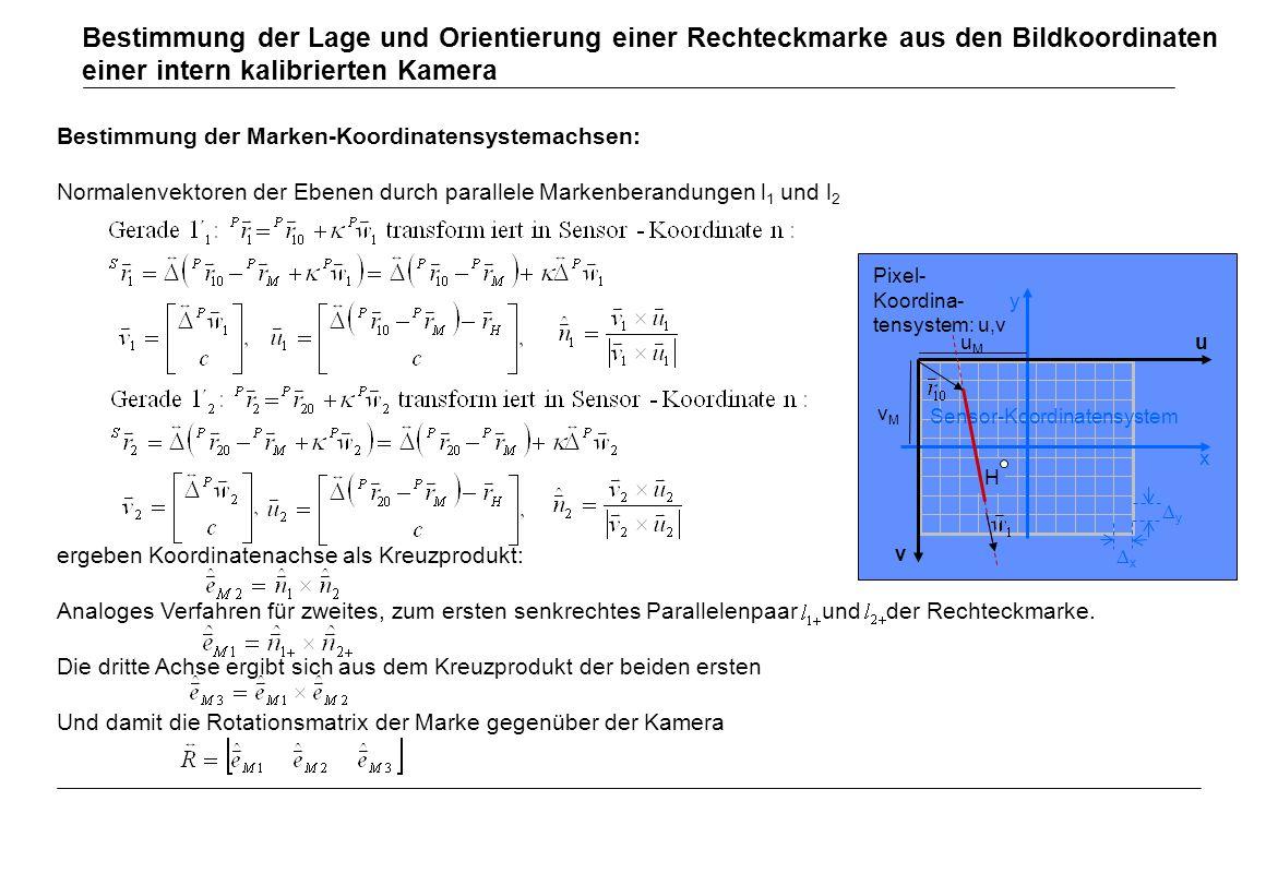 Bestimmung der Marken-Koordinatensystemachsen: Normalenvektoren der Ebenen durch parallele Markenberandungen l 1 und l 2 ergeben Koordinatenachse als