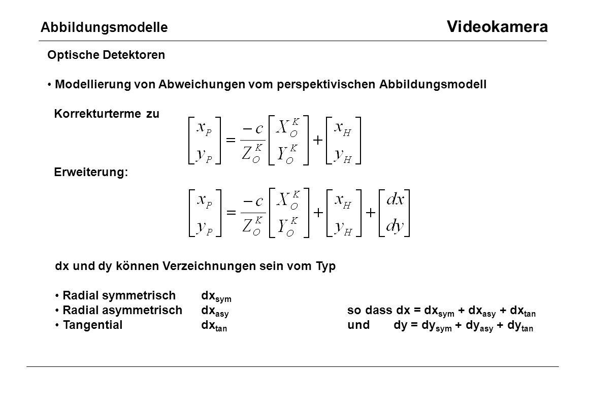 Optische Detektoren Modellierung von Abweichungen vom perspektivischen Abbildungsmodell Korrekturterme zu Erweiterung: Abbildungsmodelle Videokamera d