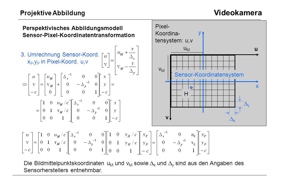 Pixel- Koordina- tensystem: u,v u v x y H Perspektivisches Abbildungsmodell Sensor-Pixel-Koordinatentransformation 3. Umrechnung Sensor-Koord. x P,y P