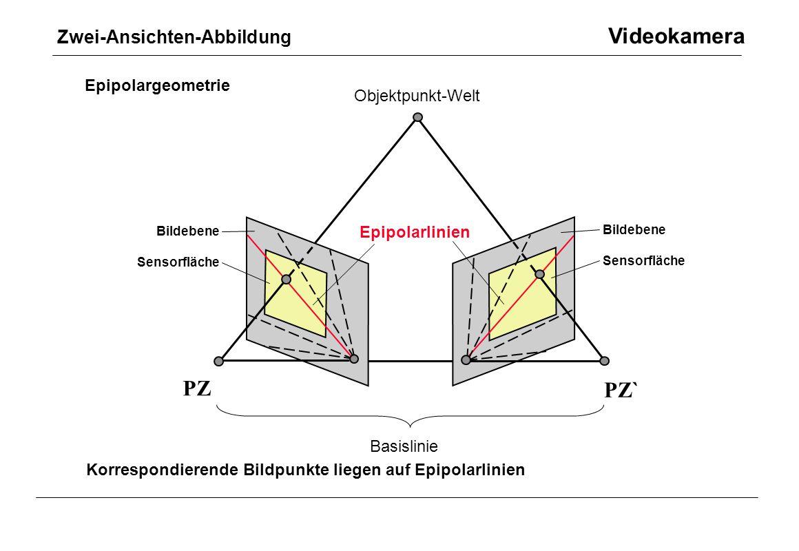 Zwei-Ansichten-Abbildung Videokamera PZ PZ` p p` Bildebene Sensorfläche Bildebene Sensorfläche Objektpunkt-Welt Basislinie Epipolarlinien Epipolargeom