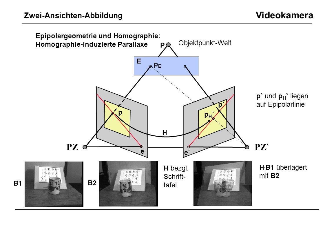 Zwei-Ansichten-Abbildung Videokamera Epipolargeometrie und Homographie: Homographie-induzierte Parallaxe PZ PZ` p p` Objektpunkt-Welt P e e` p p` oo o