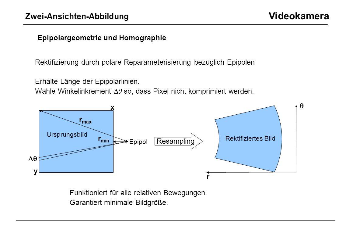 Zwei-Ansichten-Abbildung Videokamera Epipolargeometrie und Homographie Rektifizierung durch polare Reparameterisierung bezüglich Epipolen Erhalte Läng