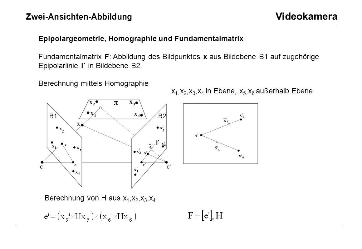 Zwei-Ansichten-Abbildung Videokamera Epipolargeometrie, Homographie und Fundamentalmatrix Fundamentalmatrix F: Abbildung des Bildpunktes x aus Bildebe