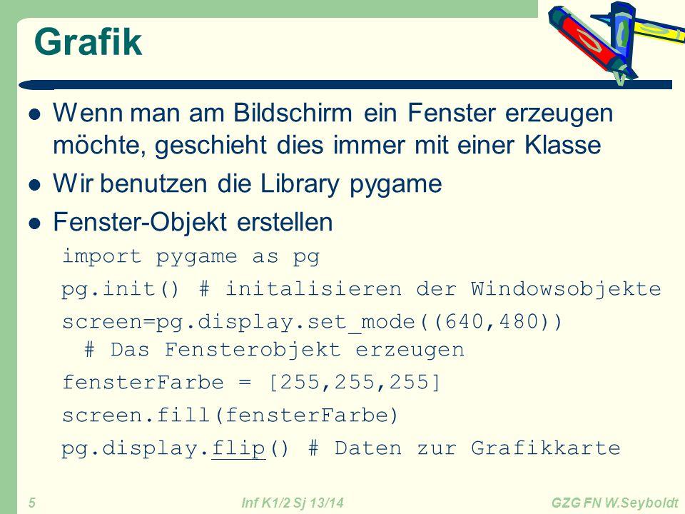 Inf K1/2 Sj 13/14 GZG FN W.Seyboldt 5 Grafik Wenn man am Bildschirm ein Fenster erzeugen möchte, geschieht dies immer mit einer Klasse Wir benutzen die Library pygame Fenster-Objekt erstellen import pygame as pg pg.init() # initalisieren der Windowsobjekte screen=pg.display.set_mode((640,480)) # Das Fensterobjekt erzeugen fensterFarbe = [255,255,255] screen.fill(fensterFarbe) pg.display.flip() # Daten zur Grafikkarte