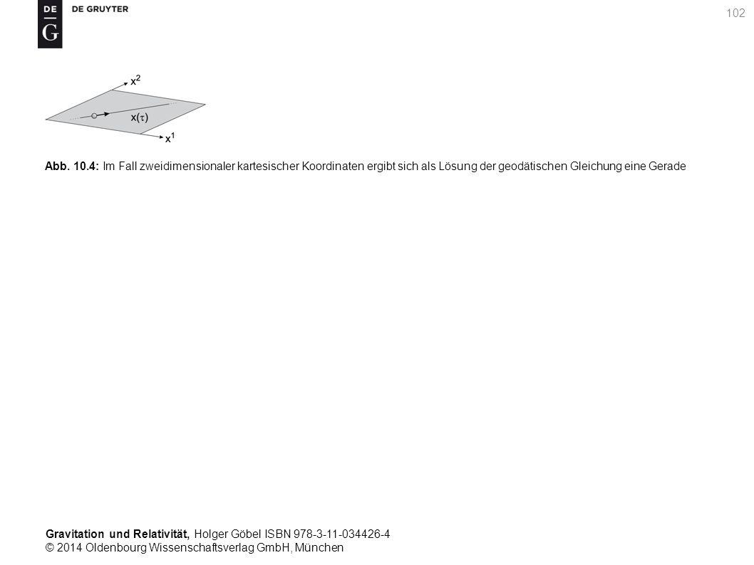 Gravitation und Relativität, Holger Göbel ISBN 978-3-11-034426-4 © 2014 Oldenbourg Wissenschaftsverlag GmbH, München 102 Abb. 10.4: Im Fall zweidimens