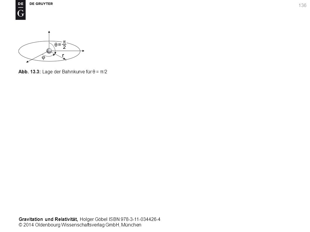 Gravitation und Relativität, Holger Göbel ISBN 978-3-11-034426-4 © 2014 Oldenbourg Wissenschaftsverlag GmbH, München 136 Abb. 13.3: Lage der Bahnkurve