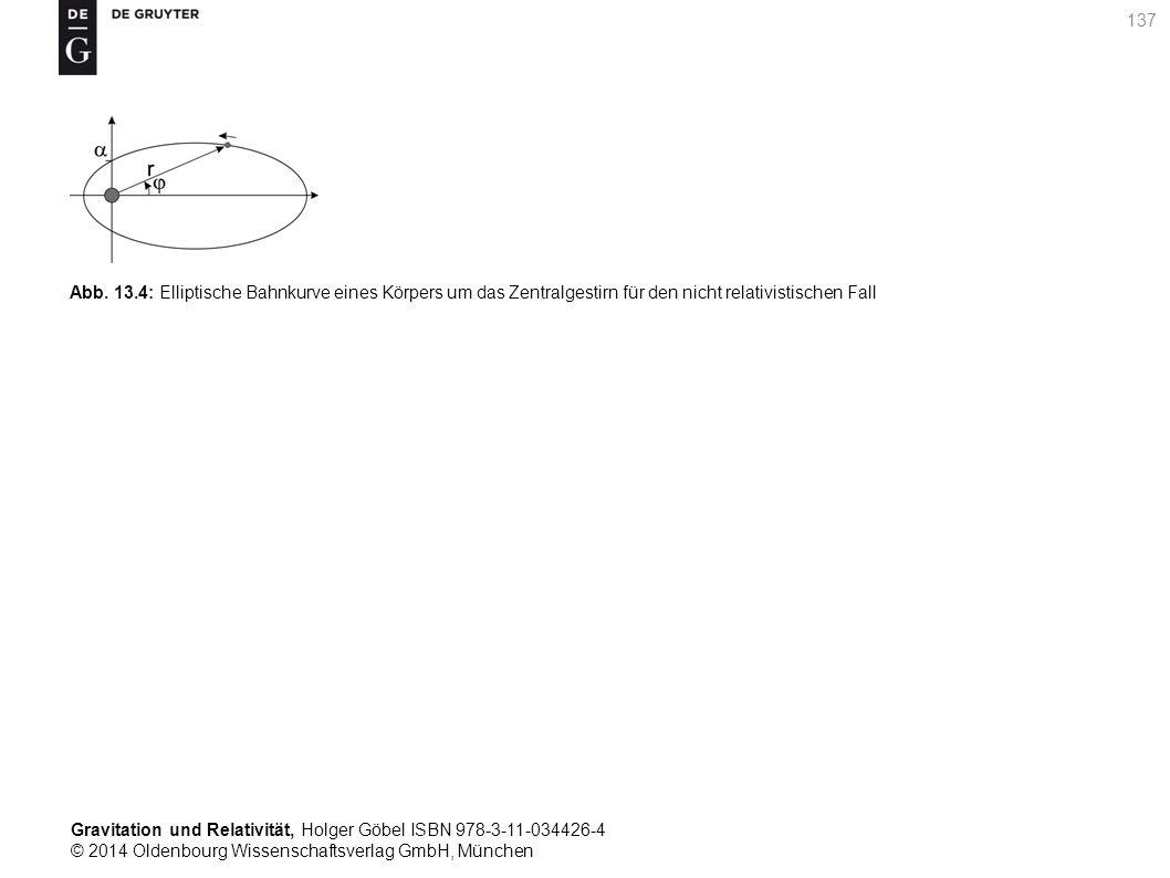 Gravitation und Relativität, Holger Göbel ISBN 978-3-11-034426-4 © 2014 Oldenbourg Wissenschaftsverlag GmbH, München 137 Abb. 13.4: Elliptische Bahnku
