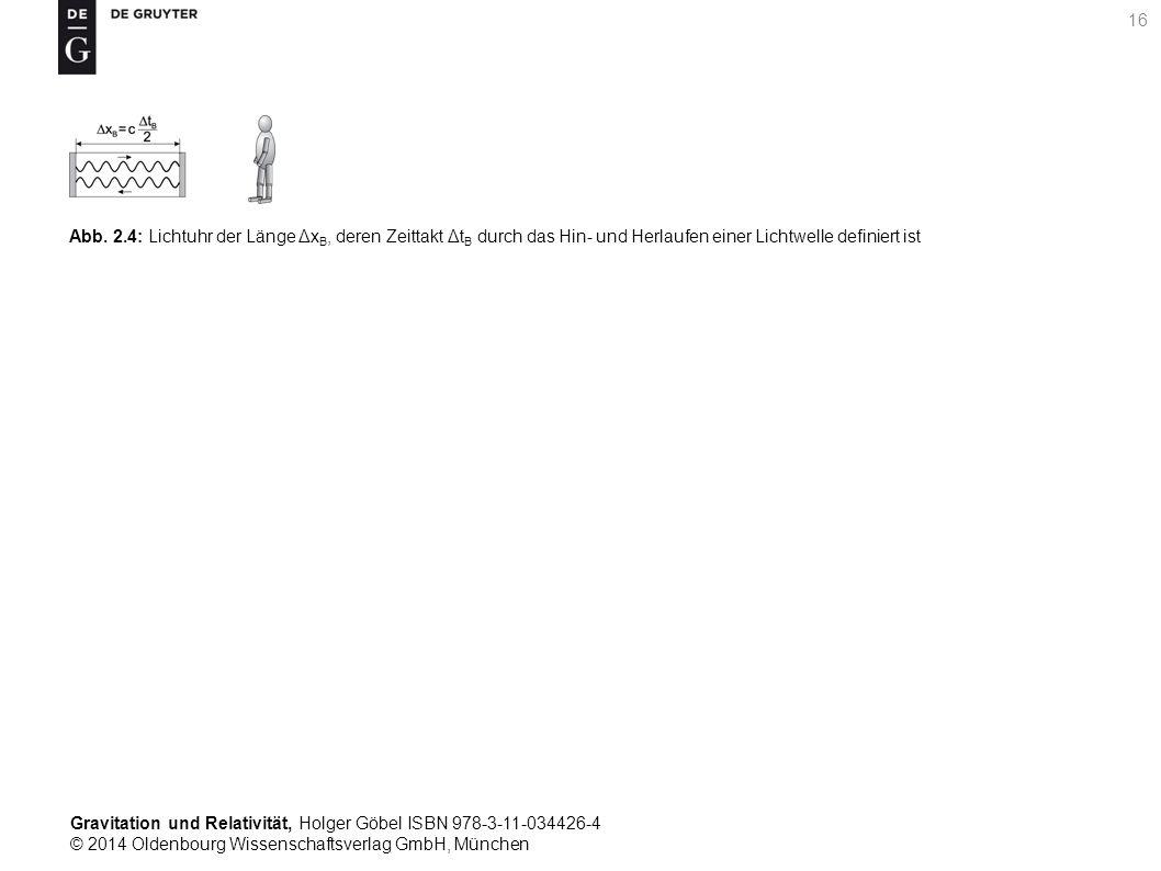 Gravitation und Relativität, Holger Göbel ISBN 978-3-11-034426-4 © 2014 Oldenbourg Wissenschaftsverlag GmbH, München 16 Abb. 2.4: Lichtuhr der Länge Δ