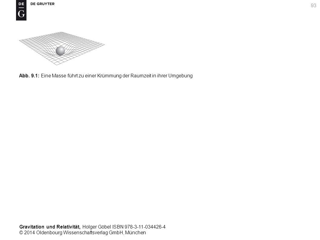 Gravitation und Relativität, Holger Göbel ISBN 978-3-11-034426-4 © 2014 Oldenbourg Wissenschaftsverlag GmbH, München 93 Abb. 9.1: Eine Masse führt zu