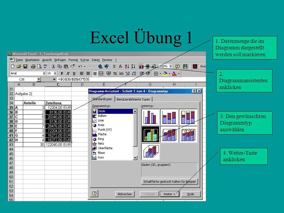 Excel Übung 1 1.Datenmenge die im Diagramm dargestellt werden soll markieren 2.