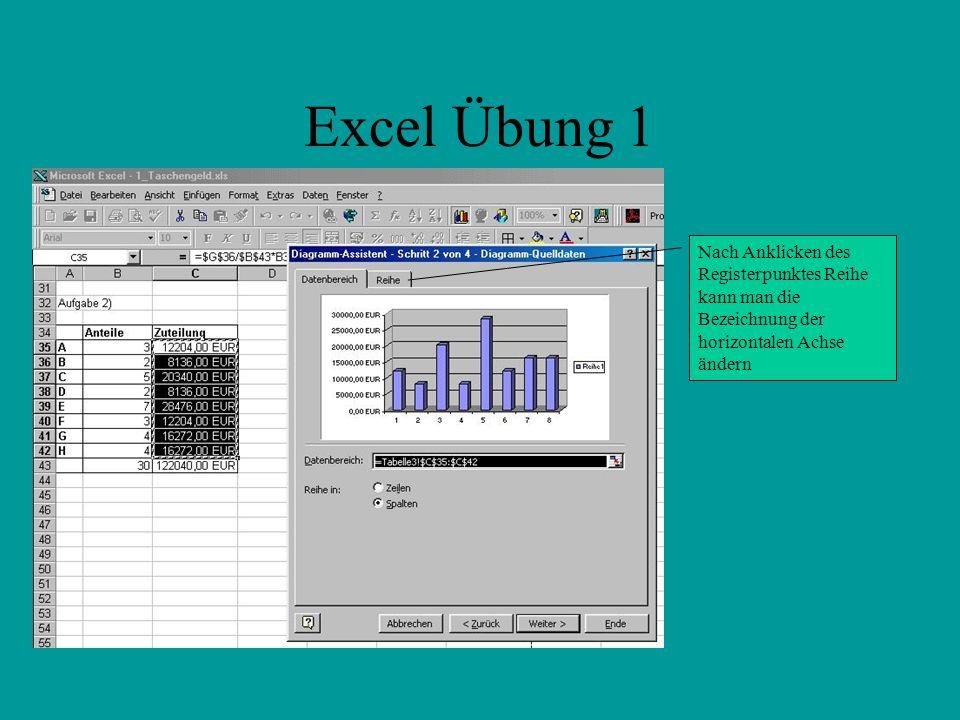 Excel Übung 1 Nach Anklicken des Registerpunktes Reihe kann man die Bezeichnung der horizontalen Achse ändern