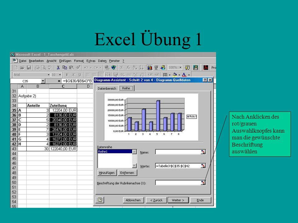 Excel Übung 1 Nach Anklicken des rot/grauen Auswahlknopfes kann man die gewünschte Beschriftung auswählen