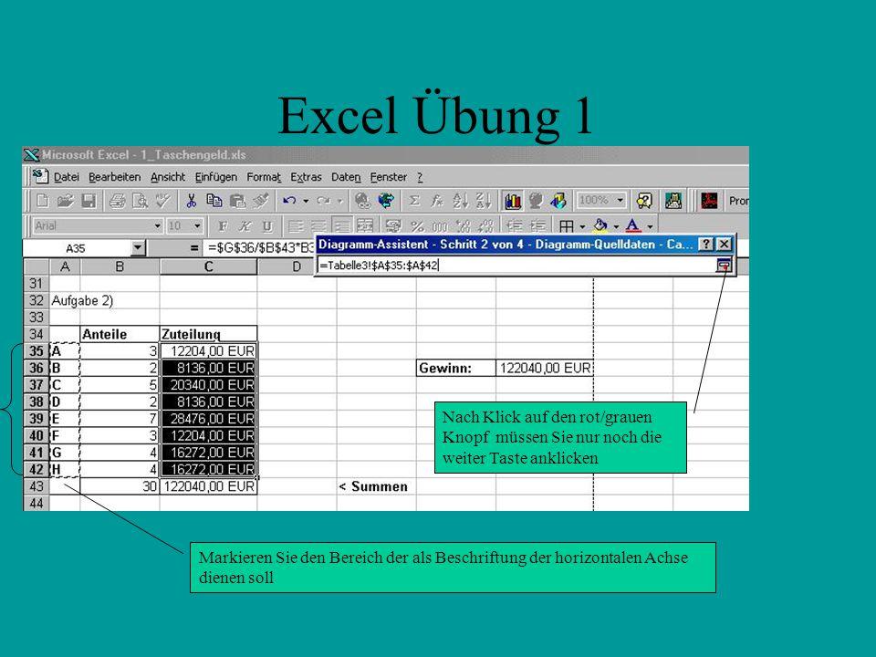 Excel Übung 1 Markieren Sie den Bereich der als Beschriftung der horizontalen Achse dienen soll Nach Klick auf den rot/grauen Knopf müssen Sie nur noch die weiter Taste anklicken