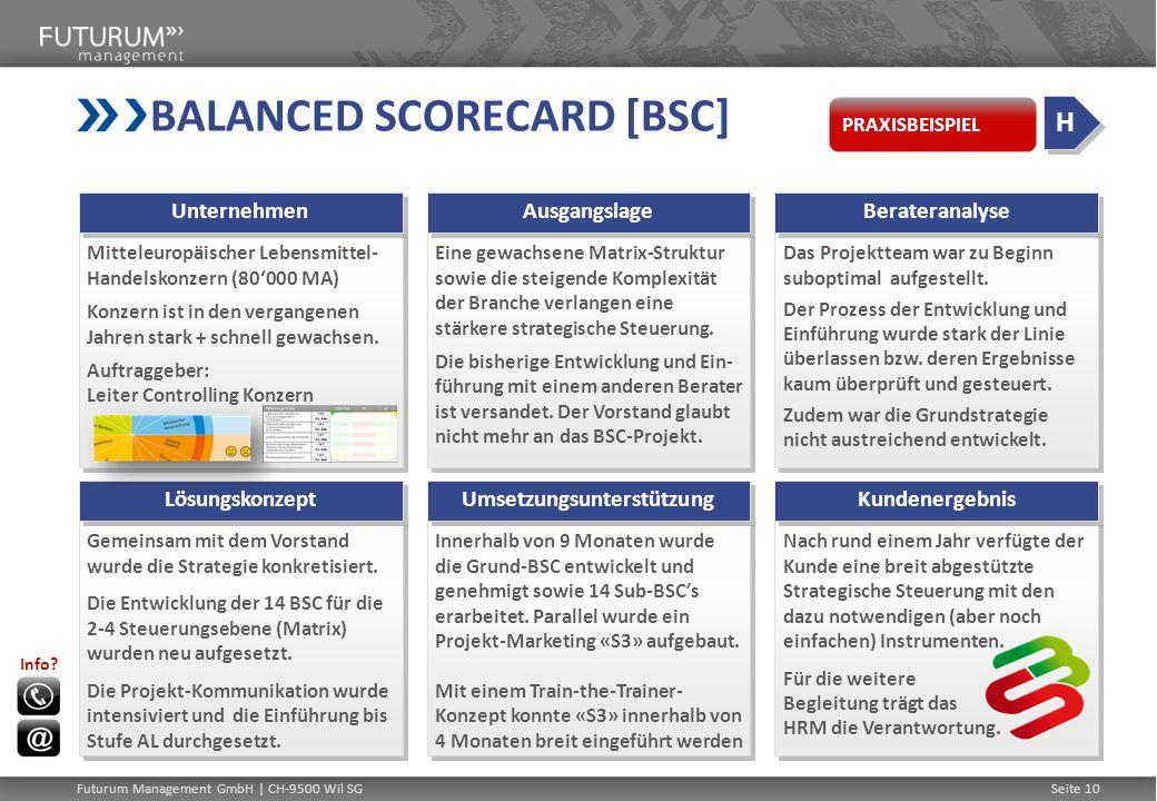 BALANCED SCORECARD [BSC] Mitteleuropäischer Lebensmittel- Handelskonzern (80'000 MA) Konzern ist in den vergangenen Jahren stark + schnell gewachsen.