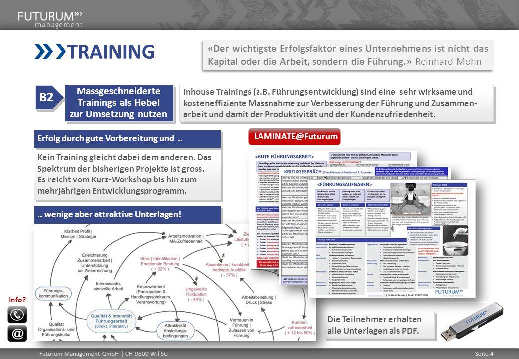 Seite 4 Inhouse Trainings (z.B. Führungsentwicklung) sind eine sehr wirksame und kosteneffiziente Massnahme zur Verbesserung der Führung und Zusammen-