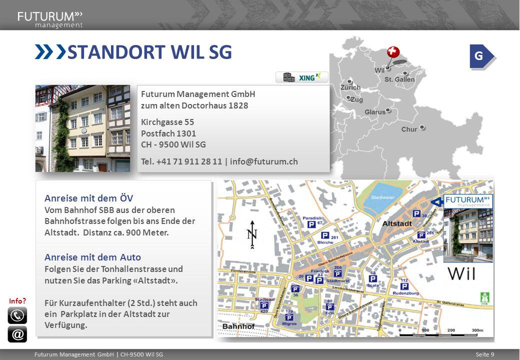Futurum Management GmbH | CH-9500 Wil SGSeite 9 STANDORT WIL SG Futurum Management GmbH zum alten Doctorhaus 1828 Kirchgasse 55 Postfach 1301 CH - 9500 Wil SG Tel.