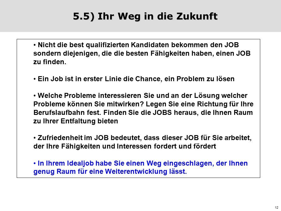 12 5.5) Ihr Weg in die Zukunft Nicht die best qualifizierten Kandidaten bekommen den JOB sondern diejenigen, die die besten Fähigkeiten haben, einen JOB zu finden.