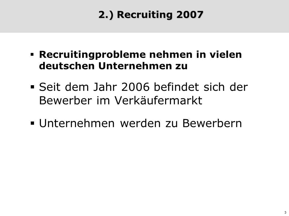 3 2.) Recruiting 2007 2.) Recruiting 2007  Recruitingprobleme nehmen in vielen deutschen Unternehmen zu  Seit dem Jahr 2006 befindet sich der Bewerber im Verkäufermarkt  Unternehmen werden zu Bewerbern