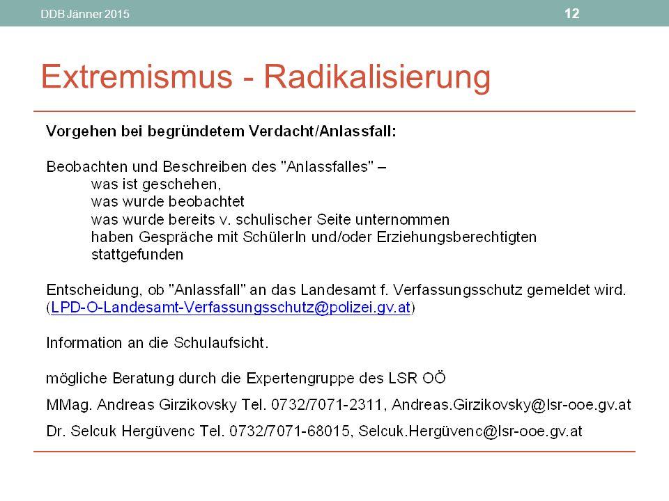 DDB Jänner 2015 12 Extremismus - Radikalisierung