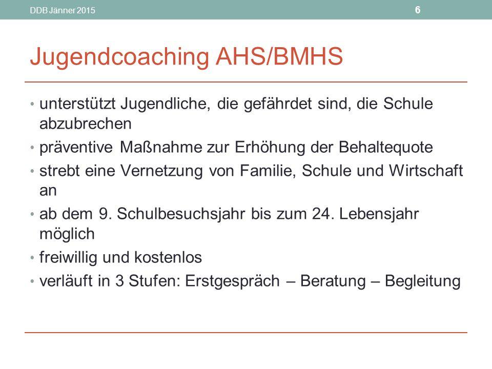 DDB Jänner 2015 6 Jugendcoaching AHS/BMHS unterstützt Jugendliche, die gefährdet sind, die Schule abzubrechen präventive Maßnahme zur Erhöhung der Behaltequote strebt eine Vernetzung von Familie, Schule und Wirtschaft an ab dem 9.