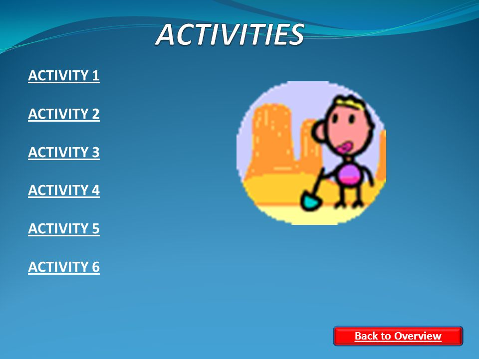 ACTIVITY 1 ACTIVITY 2 ACTIVITY 3 ACTIVITY 4 ACTIVITY 5 ACTIVITY 6 Back to Overview