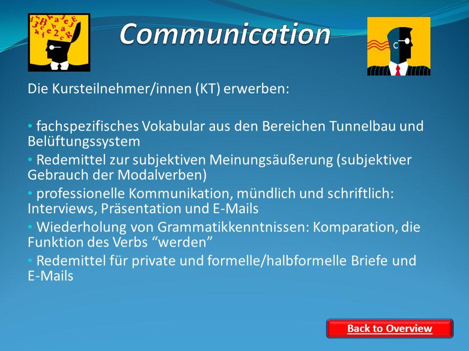 Die Kursteilnehmer/innen (KT) erwerben: fachspezifisches Vokabular aus den Bereichen Tunnelbau und Belüftungssystem Redemittel zur subjektiven Meinungsäußerung (subjektiver Gebrauch der Modalverben) professionelle Kommunikation, mündlich und schriftlich: Interviews, Präsentation und E-Mails Wiederholung von Grammatikkenntnissen: Komparation, die Funktion des Verbs werden Redemittel für private und formelle/halbformelle Briefe und E-Mails Back to Overview