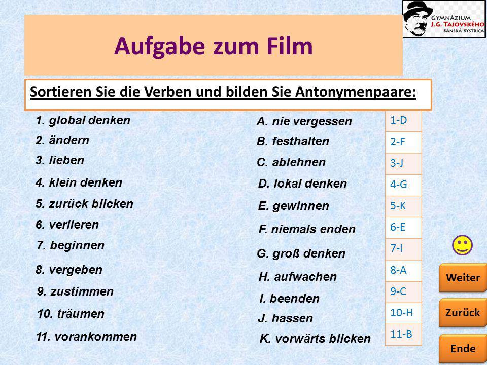 Ende Zurück Weiter Aufgabe zum Film Sortieren Sie die Verben und bilden Sie Antonymenpaare: 7. beginnen H. aufwachen 6. verlieren F. niemals enden 10.