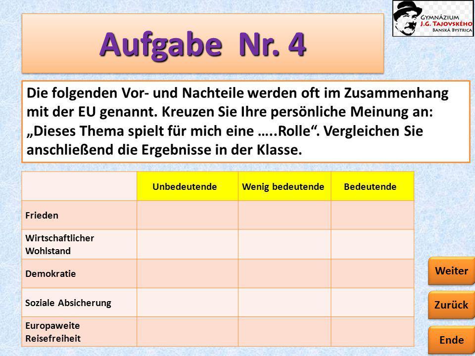 Ende Zurück Weiter Aufgabe Nr. 4. Die folgenden Vor- und Nachteile werden oft im Zusammenhang mit der EU genannt. Kreuzen Sie Ihre persönliche Meinung