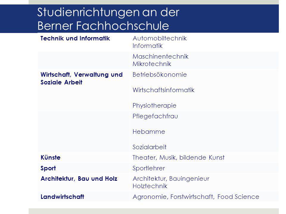 Studienrichtungen an der Berner Fachhochschule Die Kaufmännische Berufsmaturitätsschule II dient dem Erwerb der Kaufmännischen Berufsmaturität nach er