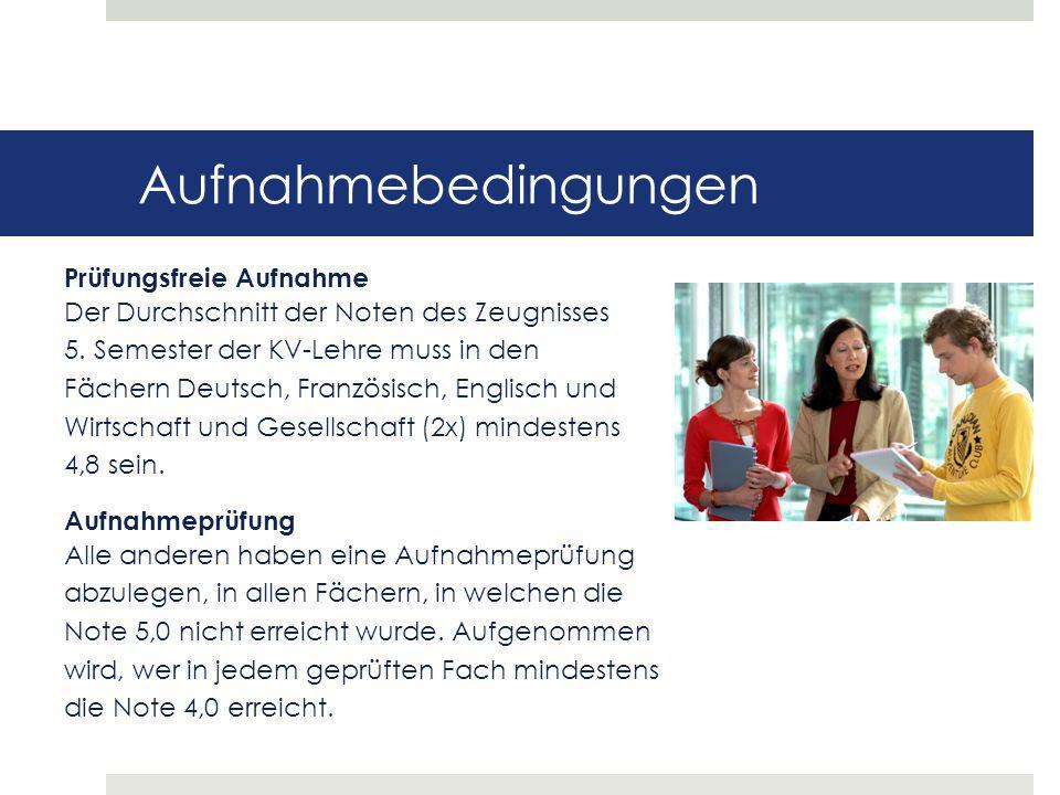 Aufnahmebedingungen Prüfungsfreie Aufnahme Der Durchschnitt der Noten des Zeugnisses 5. Semester der KV-Lehre muss in den Fächern Deutsch, Französisch