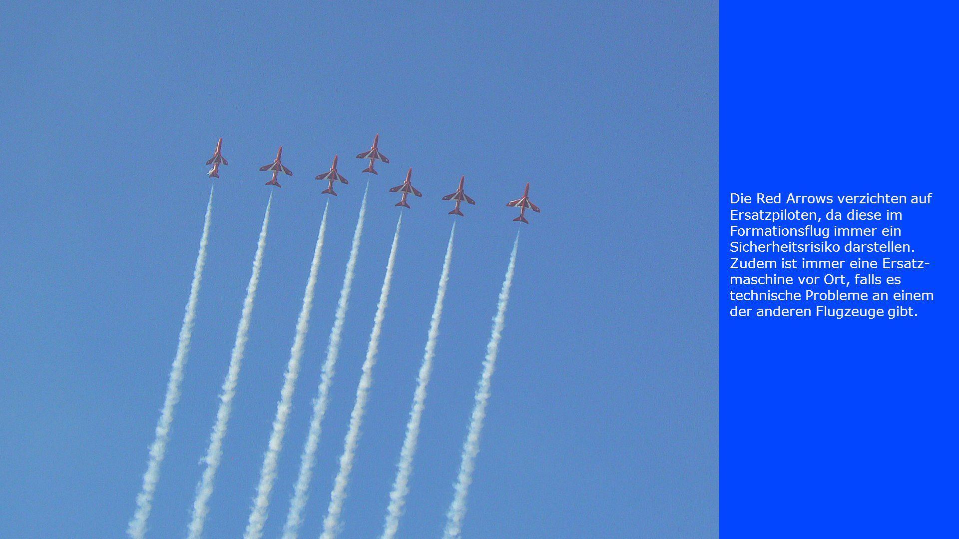 Die Red Arrows verzichten auf Ersatzpiloten, da diese im Formationsflug immer ein Sicherheitsrisiko darstellen. Zudem ist immer eine Ersatz- maschine