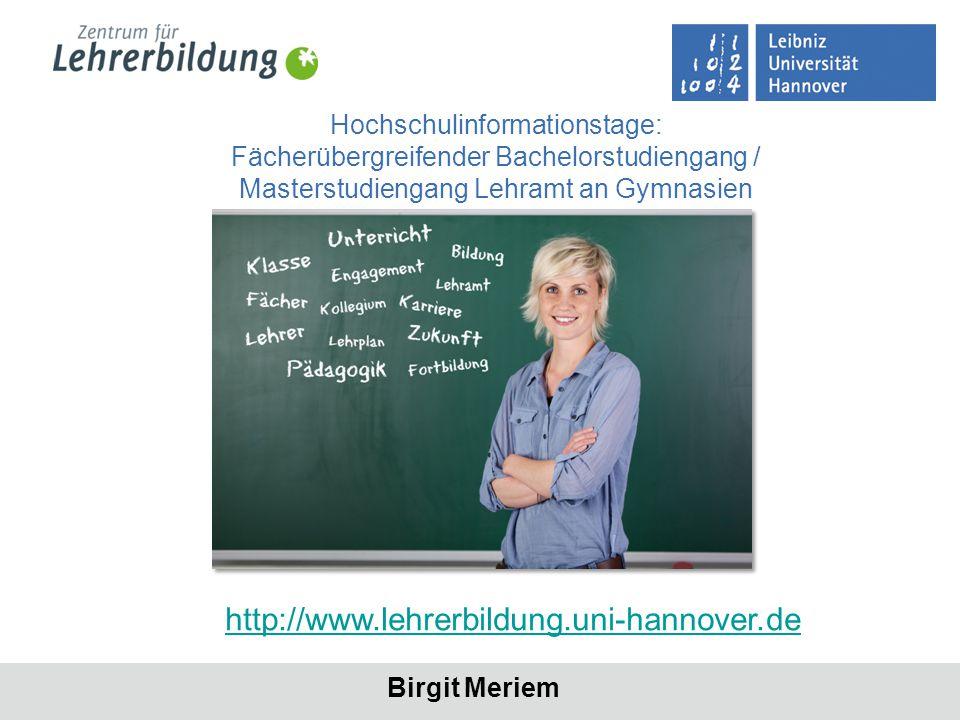 Seite 2 http://www.lehrerbildung.uni-hannover.de/ Fächerübergreifender Bachelorstudiengang / Masterstudiengang Lehramt an Gymnasien Kontakt für Fragen etc.