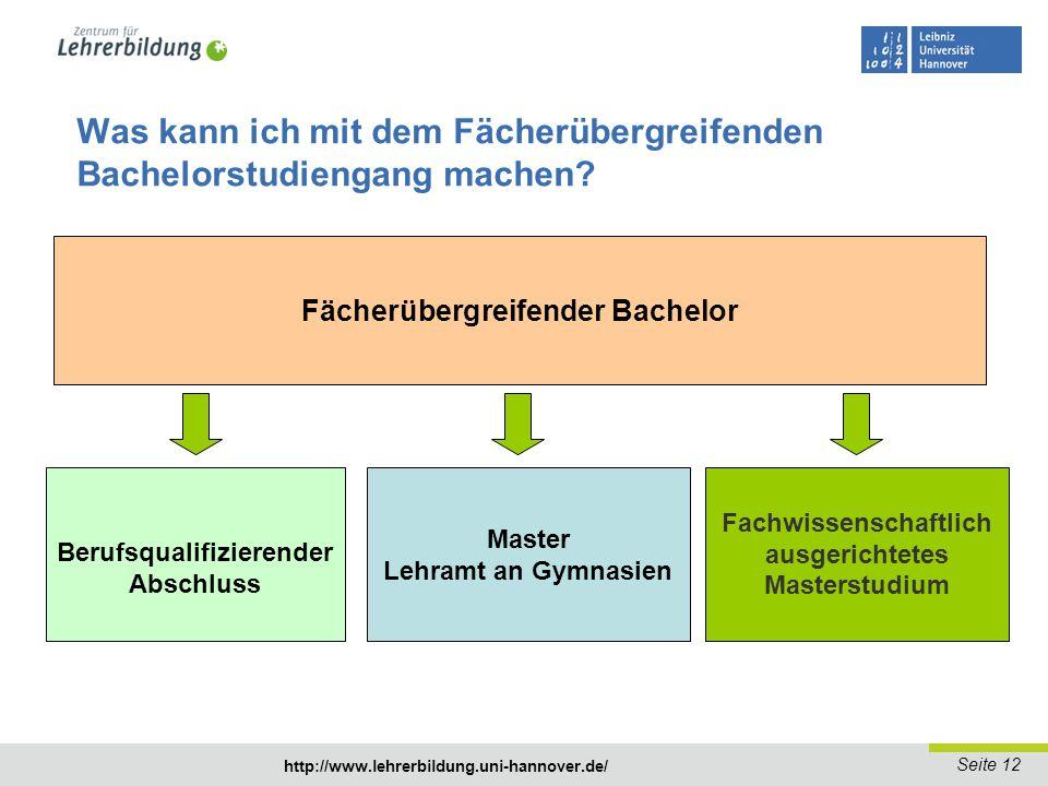 Seite 13 http://www.lehrerbildung.uni-hannover.de/ Was kann ich mit dem Fächerübergreifenden Bachelorstudiengang machen.