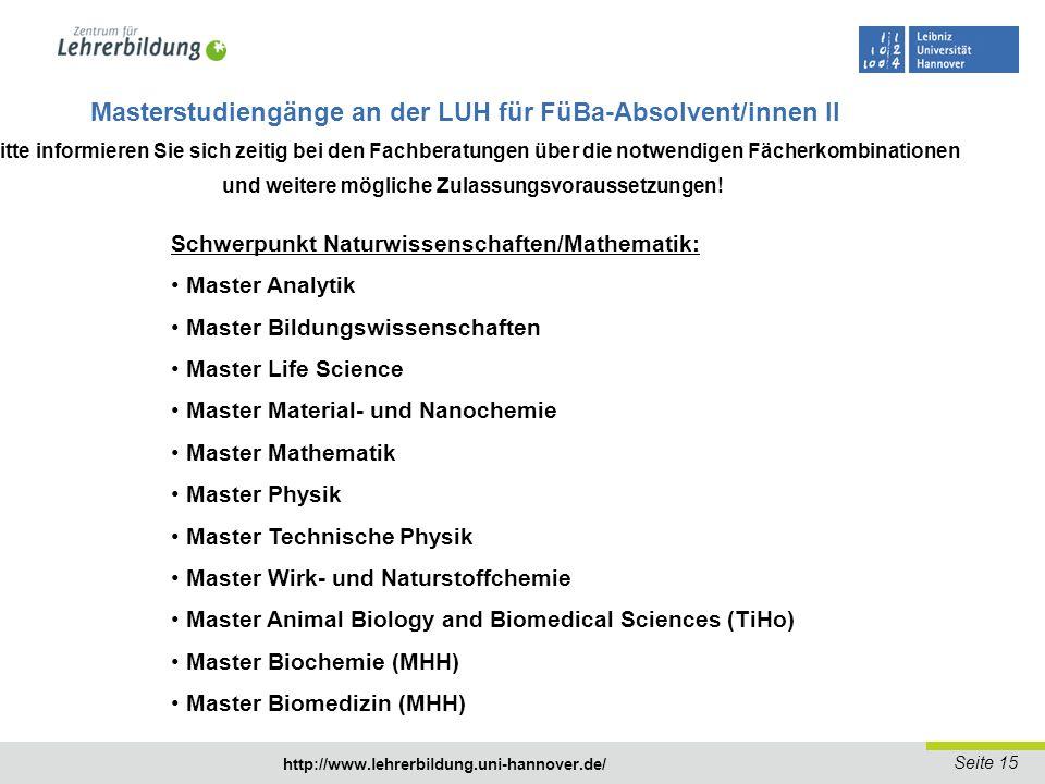 Seite 16 http://www.lehrerbildung.uni-hannover.de/ Studienaufbau Masterstudiengang Lehramt an Gymnasien