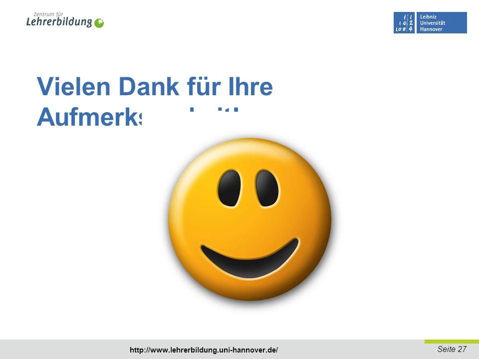Seite 27 http://www.lehrerbildung.uni-hannover.de/ Vielen Dank für Ihre Aufmerksamkeit!