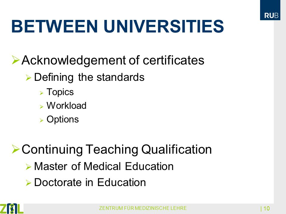 BETWEEN UNIVERSITIES  Acknowledgement of certificates  Defining the standards  Topics  Workload  Options  Continuing Teaching Qualification  Ma