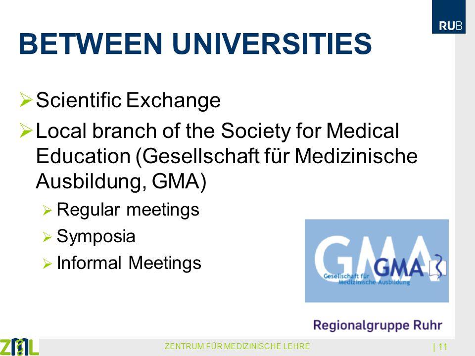 BETWEEN UNIVERSITIES  Scientific Exchange  Local branch of the Society for Medical Education (Gesellschaft für Medizinische Ausbildung, GMA)  Regul