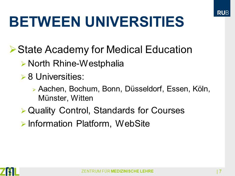 BETWEEN UNIVERSITIES ZENTRUM FÜR MEDIZINISCHE LEHRE | 7  State Academy for Medical Education  North Rhine-Westphalia  8 Universities:  Aachen, Boc