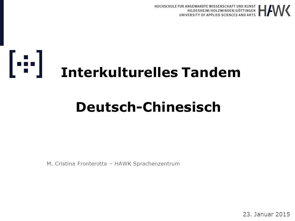 """Interkulturelles Tandem Deutsch-Chinesisch Chinesischer Lerner: """"Es freut mich, sie kennen zu lernen, ich helfe ihr, Chinesisch zu lernen, sie hilft mir Deutsch zu lernen."""