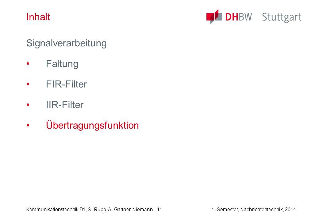 Kommunikationstechnik B1, S. Rupp, A. Gärtner-Niemann4. Semester, Nachrichtentechnik, 2014 11 Inhalt Signalverarbeitung Faltung FIR-Filter IIR-Filter