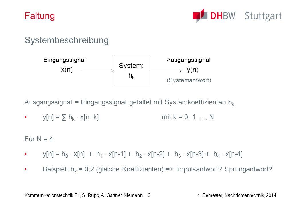 Kommunikationstechnik B1, S. Rupp, A. Gärtner-Niemann4. Semester, Nachrichtentechnik, 2014 3 Faltung Systembeschreibung Ausgangssignal = Eingangssigna