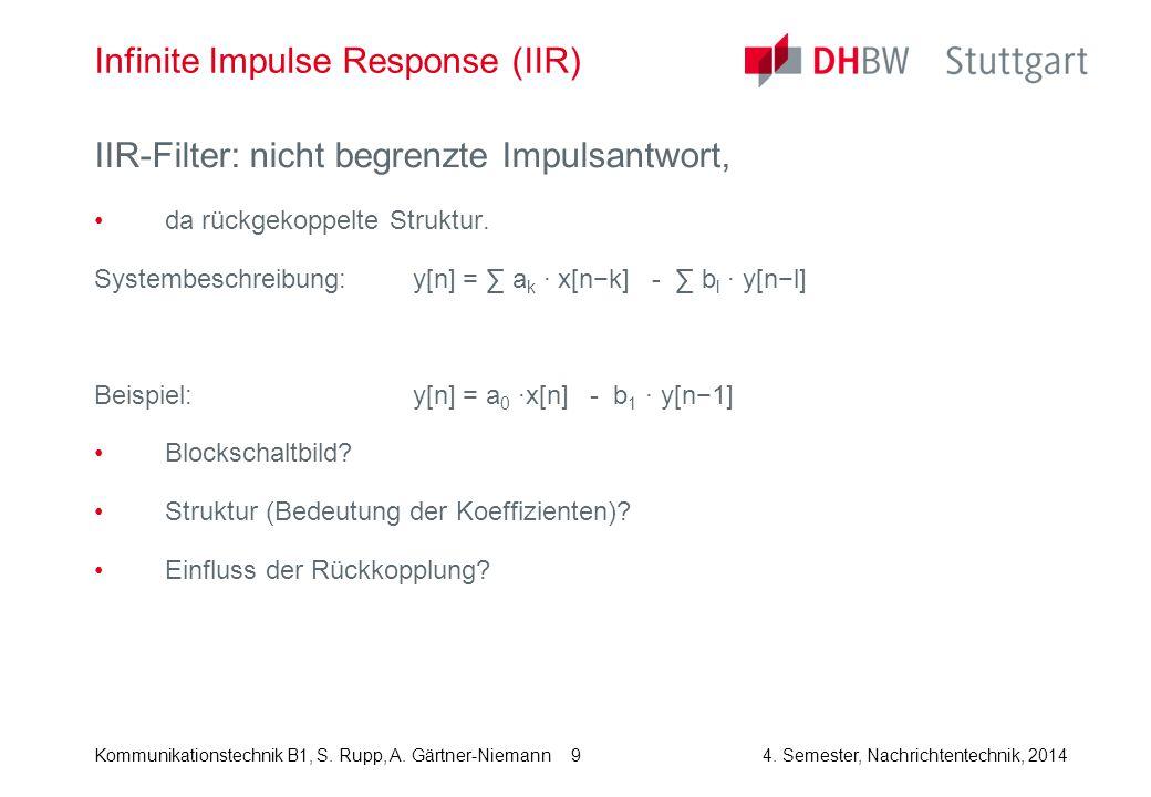Kommunikationstechnik B1, S. Rupp, A. Gärtner-Niemann4. Semester, Nachrichtentechnik, 2014 9 Infinite Impulse Response (IIR) IIR-Filter: nicht begrenz
