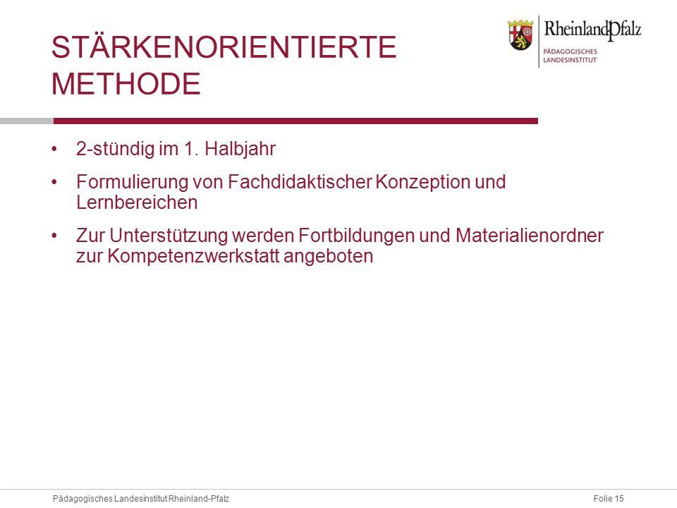 Folie 15Pädagogisches Landesinstitut Rheinland-Pfalz STÄRKENORIENTIERTE METHODE 2-stündig im 1. Halbjahr Formulierung von Fachdidaktischer Konzeption