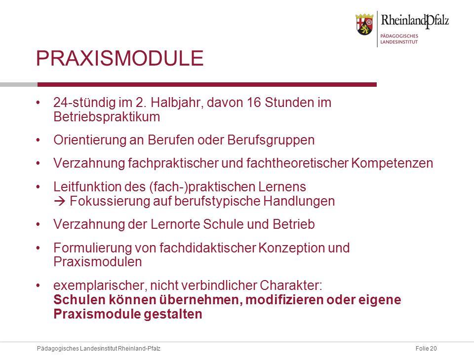 Folie 20Pädagogisches Landesinstitut Rheinland-Pfalz PRAXISMODULE 24-stündig im 2. Halbjahr, davon 16 Stunden im Betriebspraktikum Orientierung an Ber