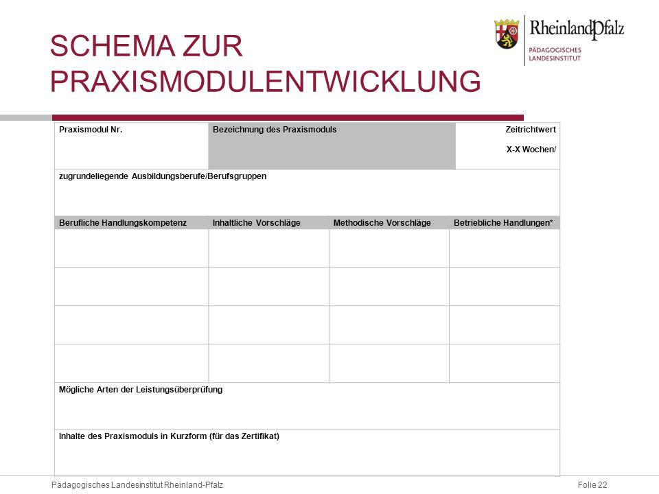 Folie 22Pädagogisches Landesinstitut Rheinland-Pfalz SCHEMA ZUR PRAXISMODULENTWICKLUNG Praxismodul Nr.Bezeichnung des Praxismoduls Zeitrichtwert X-X W