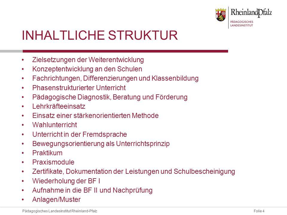 Folie 4Pädagogisches Landesinstitut Rheinland-Pfalz INHALTLICHE STRUKTUR Zielsetzungen der Weiterentwicklung Konzeptentwicklung an den Schulen Fachric