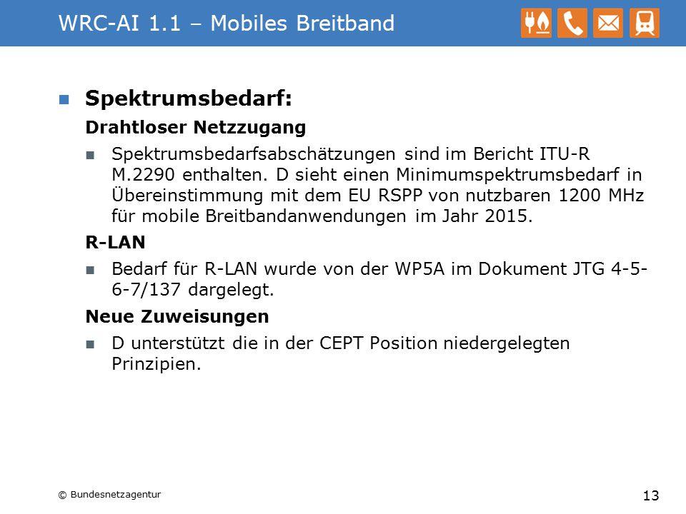 WRC-AI 1.1 – Mobiles Breitband Spektrumsbedarf: Drahtloser Netzzugang Spektrumsbedarfsabschätzungen sind im Bericht ITU-R M.2290 enthalten. D sieht ei
