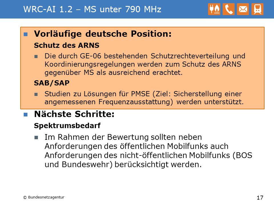 WRC-AI 1.2 – MS unter 790 MHz Vorläufige deutsche Position: Schutz des ARNS Die durch GE-06 bestehenden Schutzrechteverteilung und Koordinierungsregel