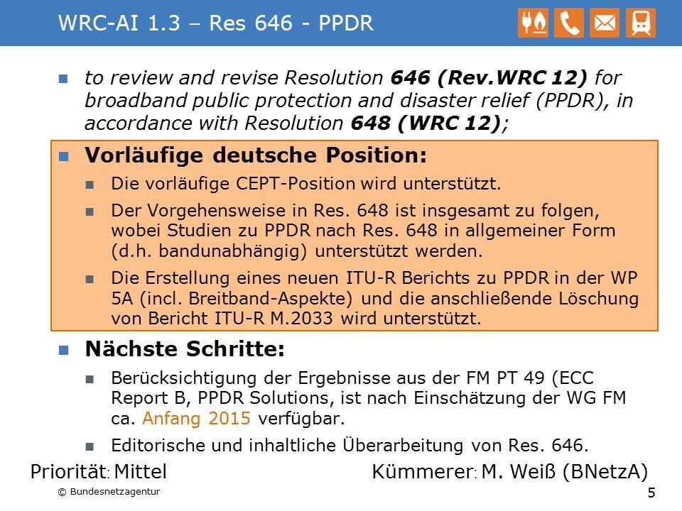 WRC-AI 1.2 – MS unter 790 MHz to examine the results of ITU R studies, in accordance with Resolution 232 (WRC 12), on the use of the frequency band 694-790 MHz by the mobile, except aeronautical mobile, service in Region 1 and take the appropriate measures; Vorläufige deutsche Position: Der Fokus von 1.1 und 1.2 liegt auf den Verträglichkeitsbetrachtungen zwischen verschiedenen Funkdiensten auf internationaler Ebene.