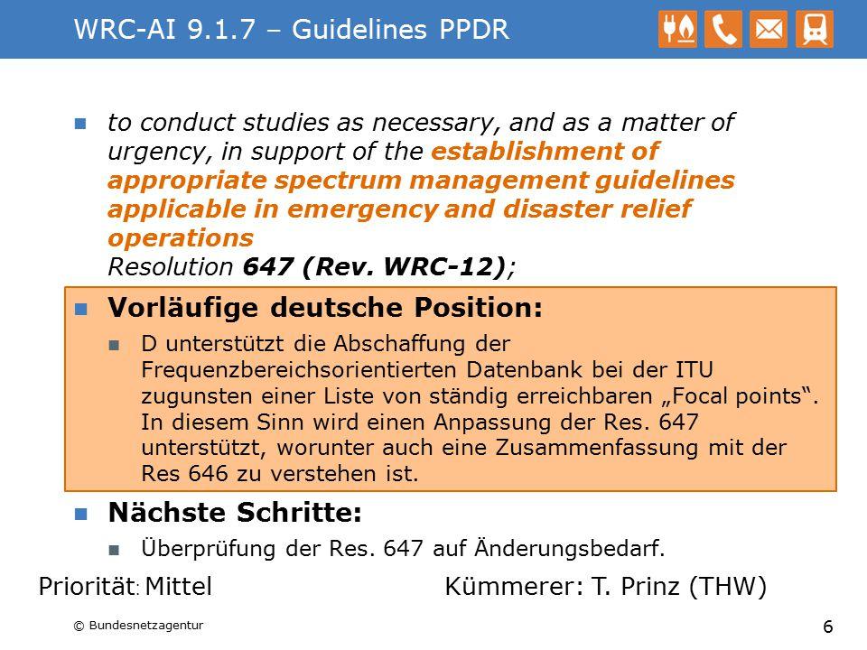 WRC-AI 1.11 – EESS uplink 7-8 GHz to consider a primary allocation for the Earth exploration-satellite service (Earth-to-space) in the 7-8 GHz range, in accordance with Resolution 650 (WRC 12); Vorläufige deutsche Position: Eine Zuweisung für den EESS (E-s) bei 7190-7250 MHz wird unterstützt.